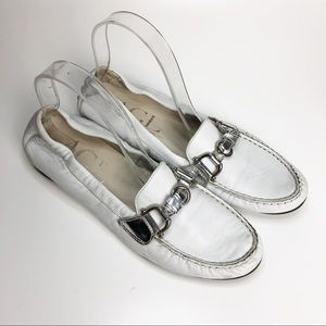 AGL White Leather Buckle Loafers Size 39.5